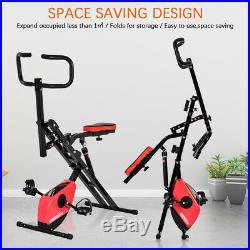 2-in-1 Folding Exercise Bike Squat Glute Workout Adjustable Magnetic Resistance