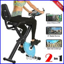 2-in-1 Stationary Bike Folding Indoor Exercise Bike with APP and Heart Monitor
