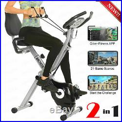 ANCHEER 2-In-1 Folding Exercise Bike, Indoor Fitness Stationary Bike Workout