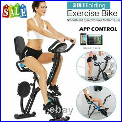 ANCHEER 3 IN 1 Indoor Folding Exercise Bike Slim Stationary Magnetic Cycle Home