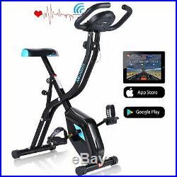 ANCHEER APP Control Folding Exercise Bike Indoor Stationary Bike 10-Level Fitnes