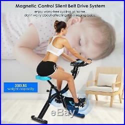 ANCHEER APP Control Folding Exercise Bike, Indoor Stationary Bike with 10-Level