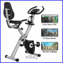 ANCHEER Folding Exercise Bike Machine Cycling Slim Fitness Trainer 10-Level Gym
