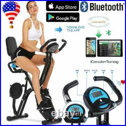 ANCHEER Folding Indoor Exercise Bike, Stationary Cycle Bike, withApp Heart Monitor