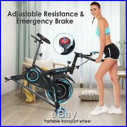 ANCHEER Indoor Cycling Bike Stationary, Belt Drive Exercise Bike Heart Rate Sens