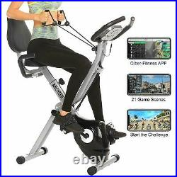 ANCHEER Indoor Exercise Slim Folding Bike 2-in-1 Stationary Magnetic Cycle Home