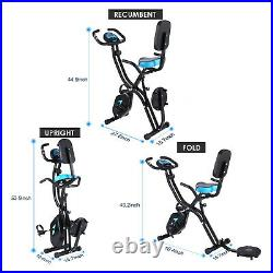 ANCHEER Indoor Exercise Slim Folding Bike 3 in1 Home Stationary Magnetic Cycle