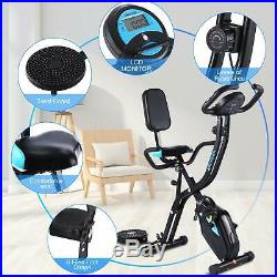 Ancheer 3-in-1 Folding Upright Exercise Bike Weight loss Health Monitor 3 Speed
