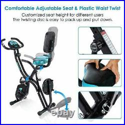 Best -Folding Stationary Upright Indoor Cycling Exercise Bike with LCD Monitor %