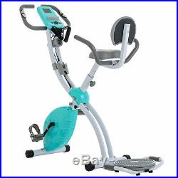 Blue Stationary Upright Exercise Bike Cardio Workout Cycling Magnetic Foldable