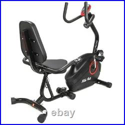 Deluxe Fitness Exercise Bike Stationary 8-Level Magnetic Recumbent Cycle Black