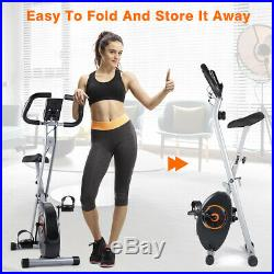 Folding Exercise X-Bike Magnetic Stationary Cardio Bicycle Home Gym Workout US