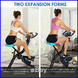 Folding Upright Exercise Bike Bluetooth Smart Non-slip Pedals 10-Level Adjustabl