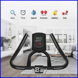 Indoor Cycling Bike Stationary Trainer Exercise Bicycle with LCD Monitor, Red