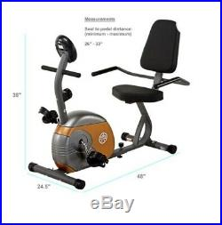 Recumbent Exercise Bike Fitness Durable Steel with Workout Goal Setting Computer