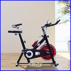 Soozier Exercise Bike Fitness Upright Indoor Bicycle Trainer With LCD Monitor
