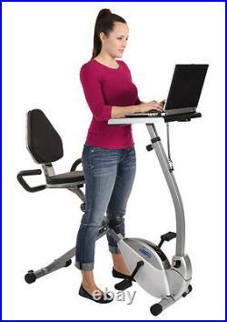 Stamina 2-in-1 Recumbent Exercise Bike Workstation Computer Laptop Standing Desk