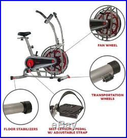 Sunny Motion Air Fan Exercise Bike with Unlimited Resistance & Device Holder NEW