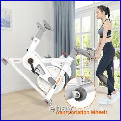 White Exercise Stationary Bike Cycling Home Gym Cardio Workout Indoor Fitness