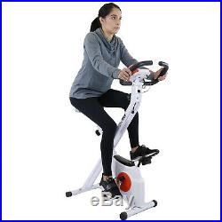 Xspec Foldable Stationary Upright Exercise Workout Indoor Cycling Bike, Orange