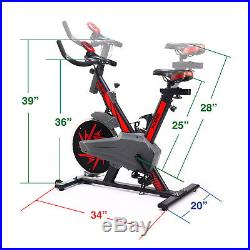 Xspec Pro Stationary Upright Red Exercise Cycling Bike with Heart Pulse Sensors